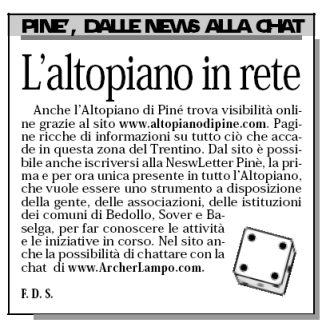 Il sito ArcherLampo sul quotidiano Adige
