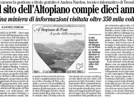 Articolo sul L'Adige