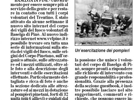 Articolo sul quotidiano L'Adige del sito dei Pompieri di Baselga