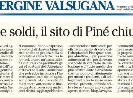Articolo di giornale sulla chiusura del sito di Pine