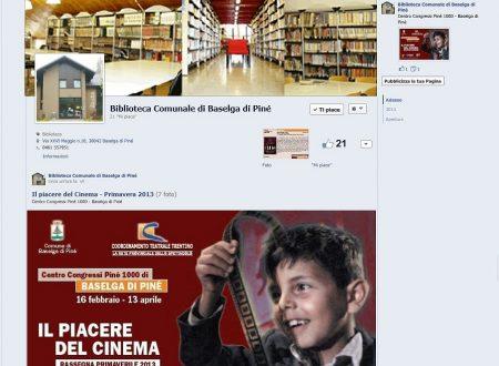 Pagina Facebook Biblioteca Comunale